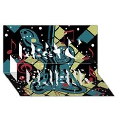 Playful guitar Best Friends 3D Greeting Card (8x4)