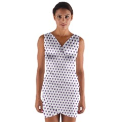 Purple Small Hearts Pattern Wrap Front Bodycon Dress