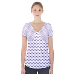 Purple Small Hearts Pattern Short Sleeve Front Detail Top