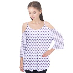 Purple Small Hearts Pattern Flutter Tees
