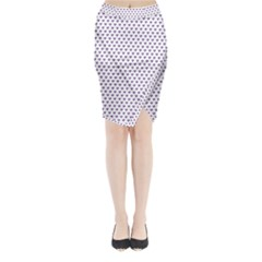 Purple Small Hearts Pattern Midi Wrap Pencil Skirt