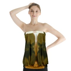 Abstract Reflections Orange Strapless Top