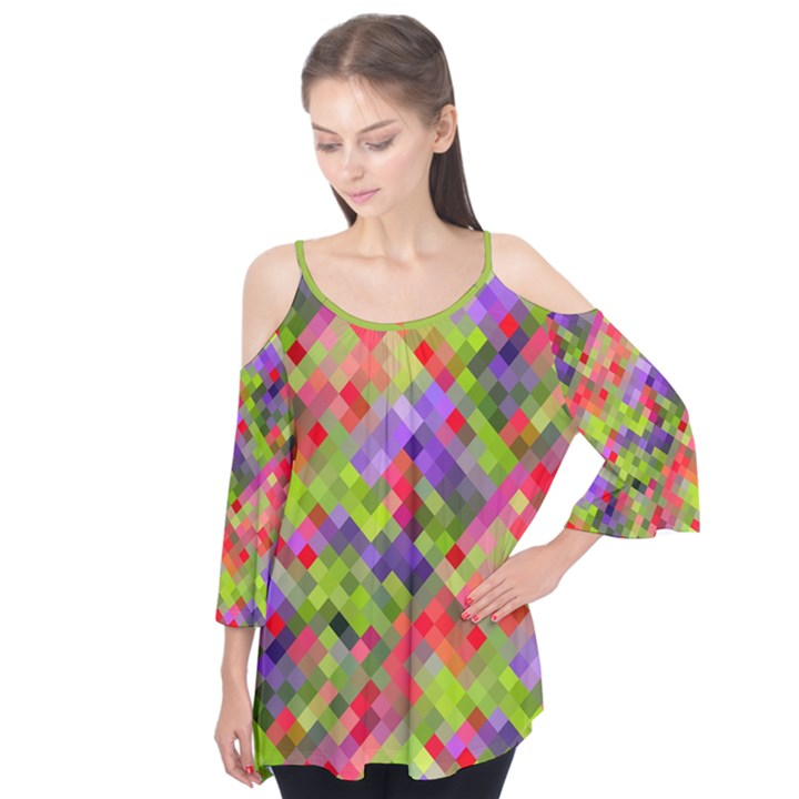 Colorful Mosaic Flutter Sleeve Tee