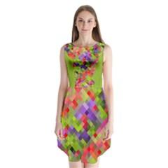 Colorful Mosaic Sleeveless Chiffon Dress