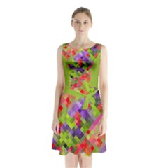 Colorful Mosaic Sleeveless Chiffon Waist Tie Dress
