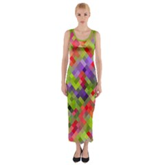 Colorful Mosaic Fitted Maxi Dress