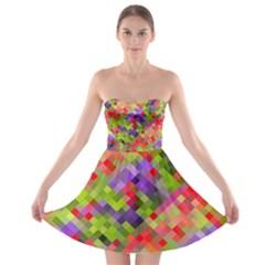 Colorful Mosaic Strapless Bra Top Dress