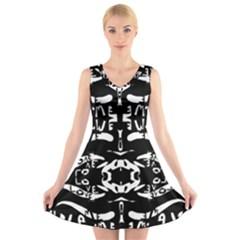 Hold White V Neck Sleeveless Skater Dress