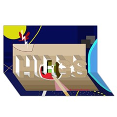 Decorative abstraction HUGS 3D Greeting Card (8x4)