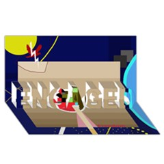 Decorative abstraction ENGAGED 3D Greeting Card (8x4)
