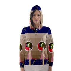 Decorative abstraction Hooded Wind Breaker (Women)