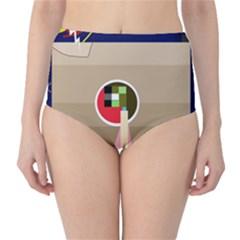 Decorative abstraction High-Waist Bikini Bottoms
