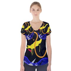 Crazy Dream Short Sleeve Front Detail Top