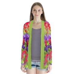 Colorful Mosaic Drape Collar Cardigan