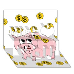 Piggy Bank  Miss You 3d Greeting Card (7x5)