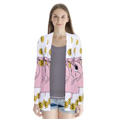 Piggy Bank  Drape Collar Cardigan