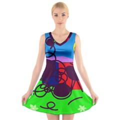 Sunny day V-Neck Sleeveless Skater Dress
