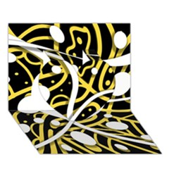 Yellow movement Heart 3D Greeting Card (7x5)