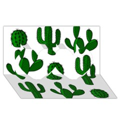 Cactuses pattern Twin Hearts 3D Greeting Card (8x4)
