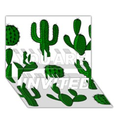 Cactuses pattern YOU ARE INVITED 3D Greeting Card (7x5)