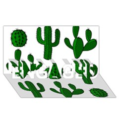 Cactuses pattern ENGAGED 3D Greeting Card (8x4)