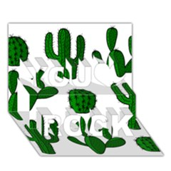 Cactuses pattern You Rock 3D Greeting Card (7x5)