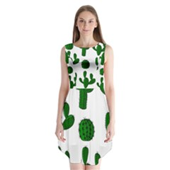 Cactuses pattern Sleeveless Chiffon Dress