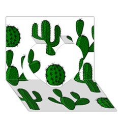 Cactuses pattern Heart 3D Greeting Card (7x5)