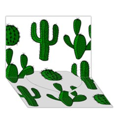 Cactuses pattern Heart Bottom 3D Greeting Card (7x5)