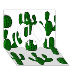 Cactuses pattern Peace Sign 3D Greeting Card (7x5)