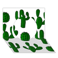 Cactuses pattern Circle 3D Greeting Card (7x5)