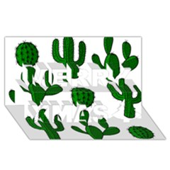 Cactuses pattern Merry Xmas 3D Greeting Card (8x4)
