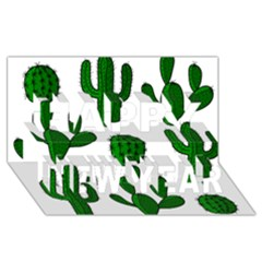Cactuses pattern Happy New Year 3D Greeting Card (8x4)