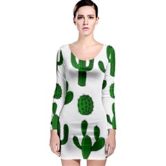 Cactuses pattern Long Sleeve Bodycon Dress