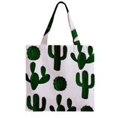 Cactuses pattern Zipper Grocery Tote Bag