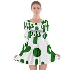 Cactuses pattern Long Sleeve Skater Dress