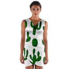 Cactuses Pattern Wrap Front Bodycon Dress