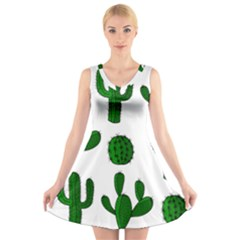 Cactuses pattern V-Neck Sleeveless Skater Dress