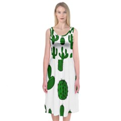 Cactuses Pattern Midi Sleeveless Dress
