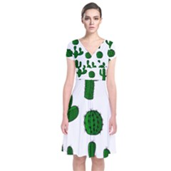 Cactuses pattern Short Sleeve Front Wrap Dress