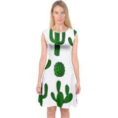 Cactuses pattern Capsleeve Midi Dress