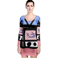 Old television Long Sleeve Bodycon Dress