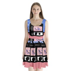 Old Television Split Back Mini Dress
