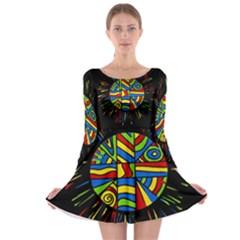 Colorful bang Long Sleeve Skater Dress