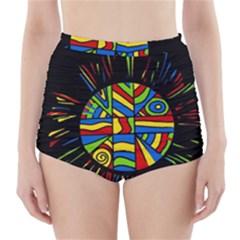 Colorful Bang High Waisted Bikini Bottoms