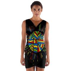 Colorful Bang Wrap Front Bodycon Dress