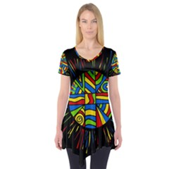 Colorful bang Short Sleeve Tunic