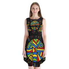 Colorful bang Sleeveless Chiffon Dress