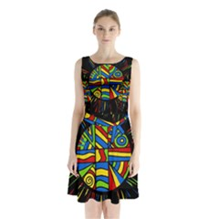 Colorful Bang Sleeveless Chiffon Waist Tie Dress
