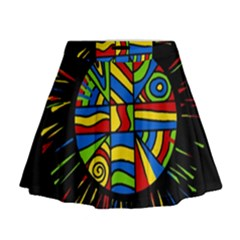 Colorful bang Mini Flare Skirt